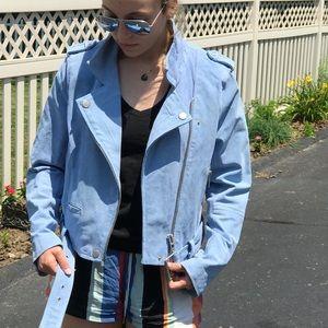 Soft blue suede biker jacket